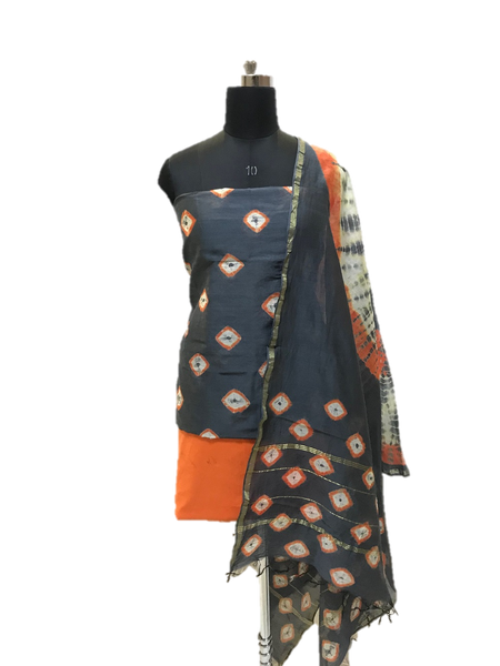 Grey And Orange Shibori Chanderi Dress Material Set - GleamBerry