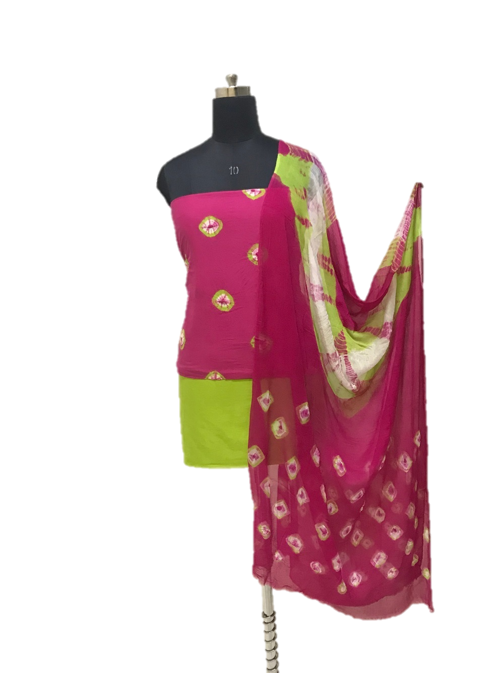 Pink And Green Shibori Cotton Dress Material Set - GleamBerry