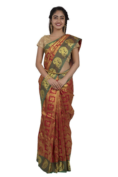 Red Kanjeevaram Silk Saree - GleamBerry
