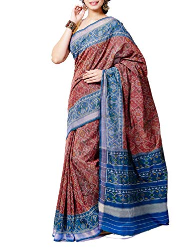 Brown Patola Ikkat Cotton Saree - GleamBerry