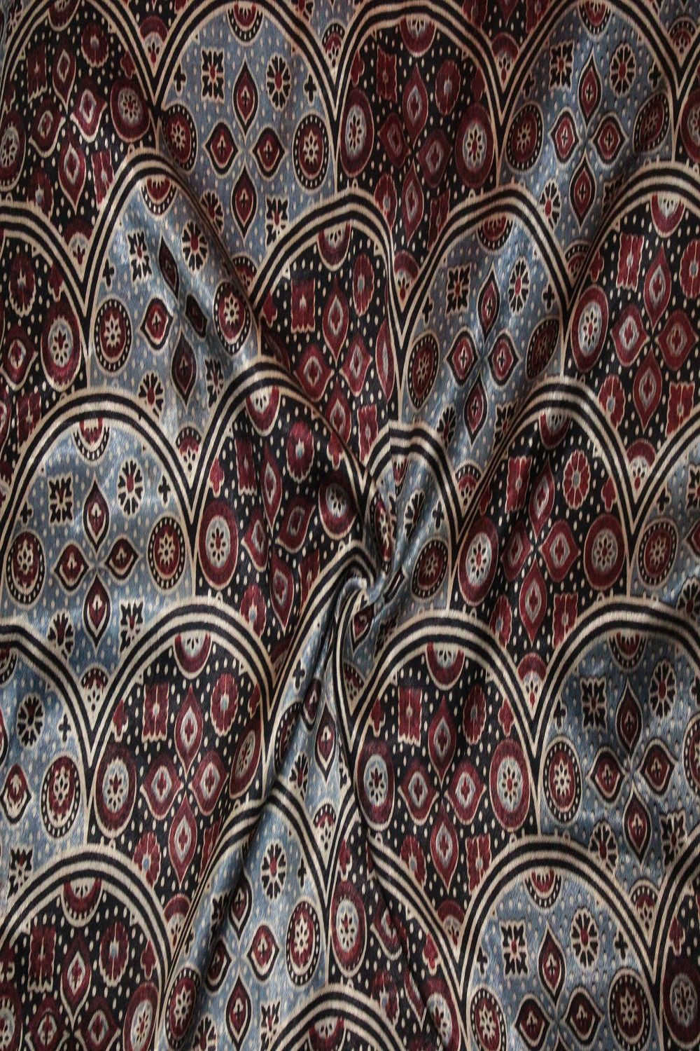 Mashru Silk Block Print Fabric - GleamBerry
