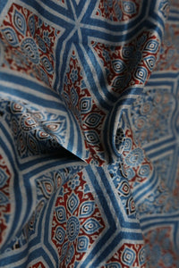 Blue Mashru Silk Block Print Fabric - GleamBerry