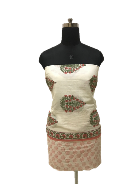 White Block Print Cotton Dress Material Set - GleamBerry