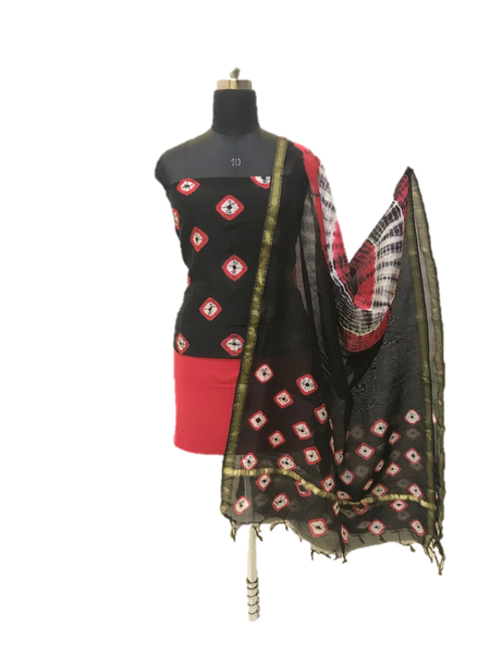 Black And Red Shibori Chanderi Dress Material Set - GleamBerry