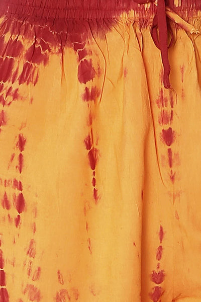 Orange Shibori Rayon Elasticated Palazzo - GleamBerry
