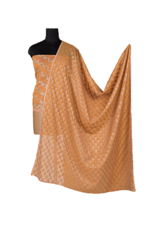 Light Brown Banarasi Unstitched Dress Material Set - GleamBerry