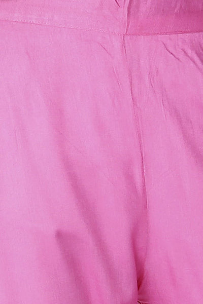 Pink Cotton Elasticated Pant - GleamBerry