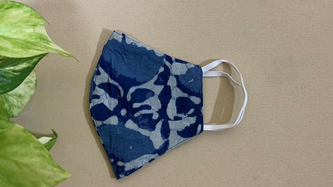 Blue Cotton Printed Mask