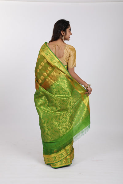 Green Kanjeevaram Silk Saree - GleamBerry