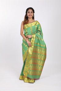 Light Green Kanjeevaram Silk Saree - GleamBerry