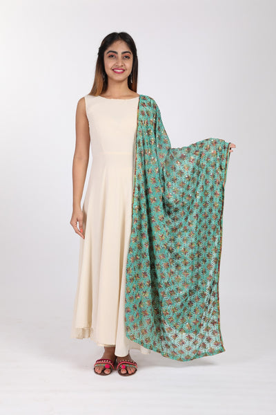 Light Green Phulkari Embroidered Chiffon Dupatta - GleamBerry