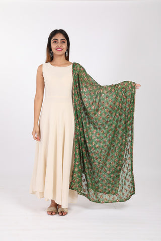 Bottle Green Phulkari Embroidered Chiffon Dupatta - GleamBerry
