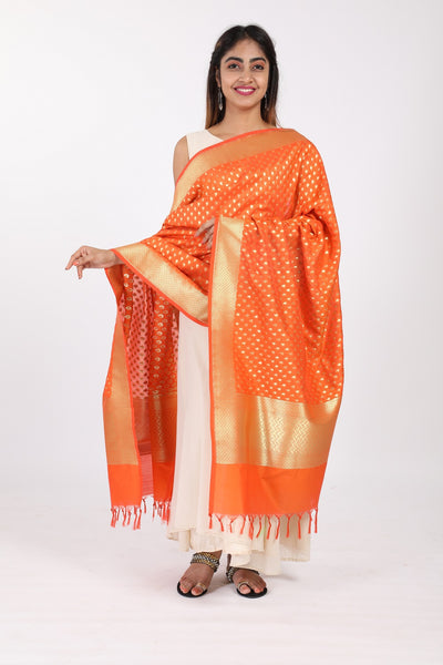 Orange Katan Silk Handloom Banarasi Dupatta - GleamBerry