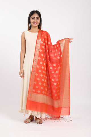 Orange Banarasi Zari Dupatta - GleamBerry