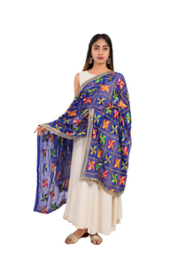 Egyptian Blue Phulkari Pakha Embroidered Chiffon Dupatta - GleamBerry