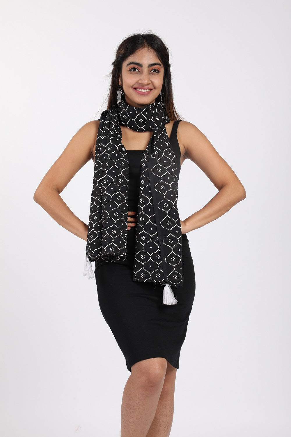 Black Block Print Cotton Stole - GleamBerry