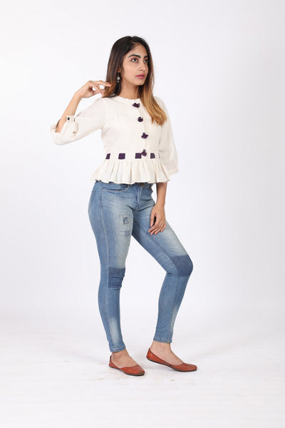 White Slub Top - GleamBerry