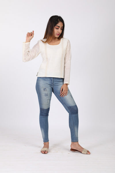 White Resham Slub Top - GleamBerry