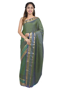 Two tone green Kanjeevaram silk Saree - GleamBerry