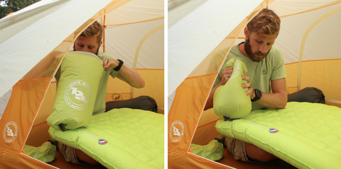 Big Agnes pads all come standard with a bag that pushes air into your pad. It makes life so much easier!
