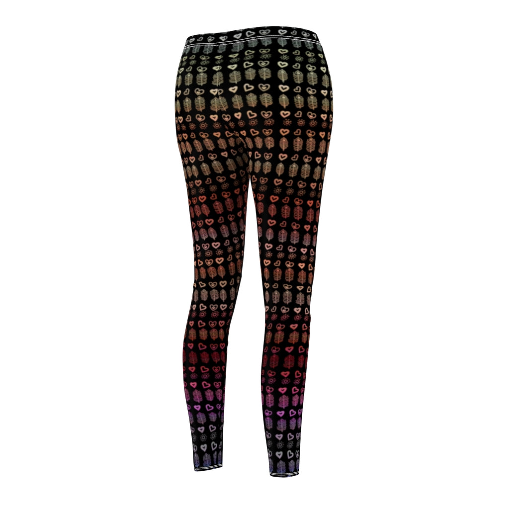 Peacock Feathers and Hearts Black Leggings