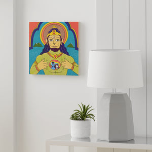 Hanuman Opening his Heart Wood Canvas
