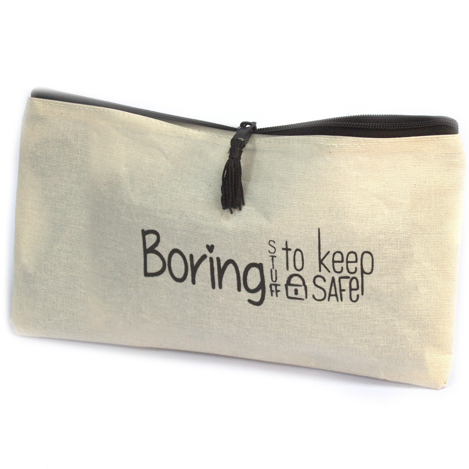 Zipped Pouch - To Keep Boring Stuff Safe - 28x16cm