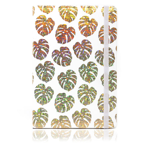 A5 Notebook - Golden Tropical Leaves