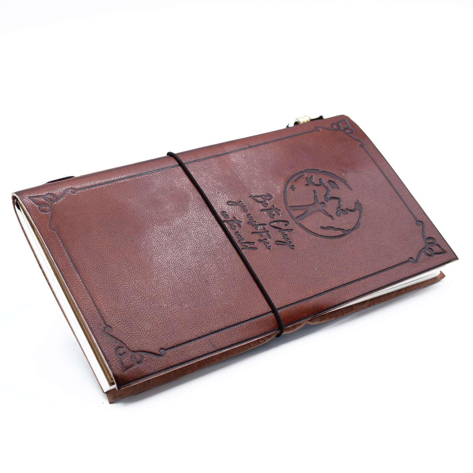 Handmade Leather Journal - Be The Change - Brown