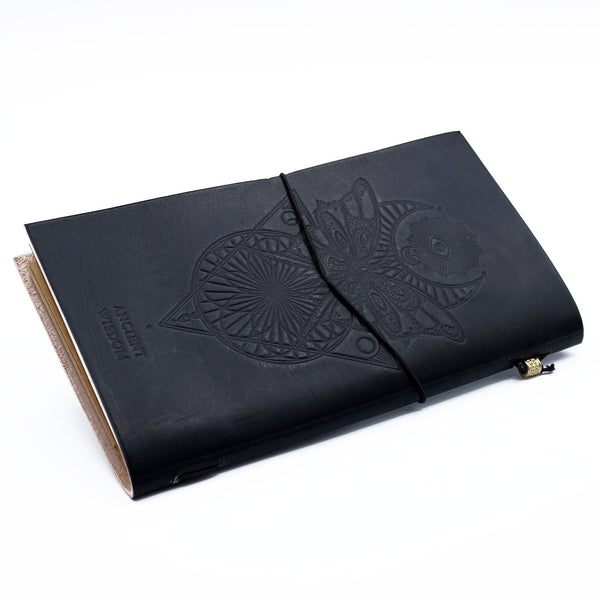 Handmade Leather Journal - My Book Of Spells And Other Thoughts - Black