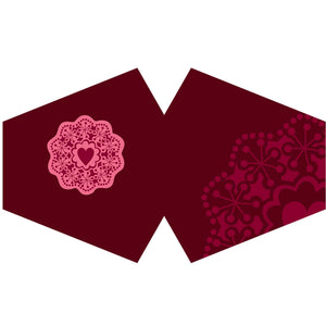 Reusable Face Mask - Red Mandala Heart (adult)