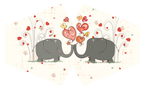 Reusable Face Mask - Elephants in Love (adult)