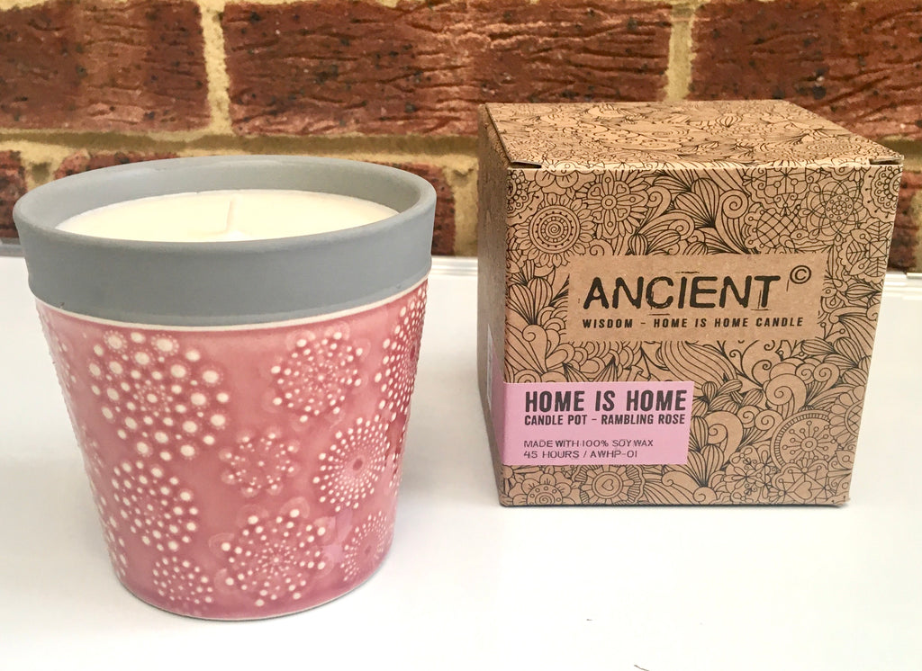 AWHP-01 Home is Home Candle Pots Rambling Rose