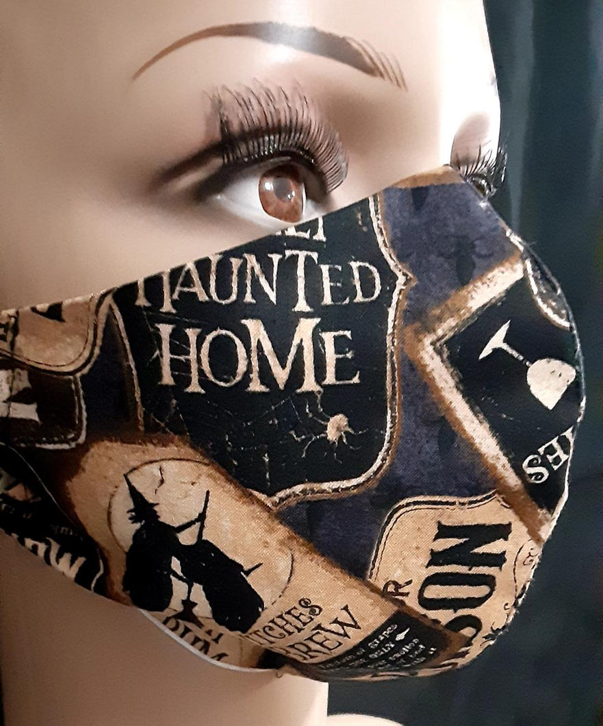 canadian made in 100% premium cotton 2 ply face mask. Non medical, Breathable, Washable, Reusable, Durable, Economical & Enviromentally Friendly. Pictured Halloween Signs/Witches/Haunted House