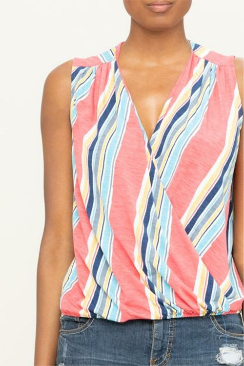 MULTI-COLOR SLEEVELESS STRIPED SURPLICE KNIT TOP
