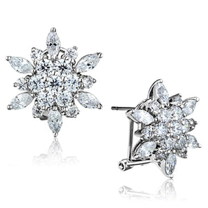 3W661 Rhodium Brass Earrings with AAA Grade CZ in