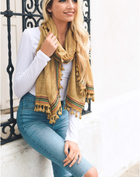 Boho Multi-Color Tassel Trim Mustard Scarf