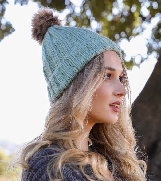 Mint Faux Fur Ribbed Beanie
