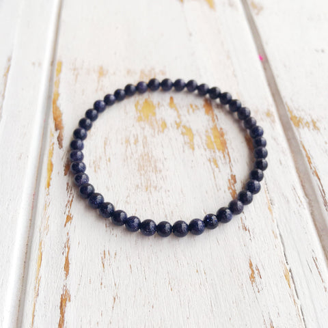 4mm Blue Goldstone Bracelet
