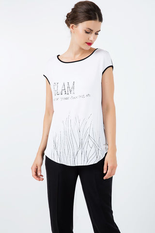 Sleeveless Top with Black Foil Print