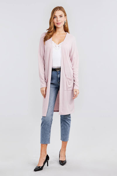 Pink - Long Sleeve Rib Cardigan w/ Pockets