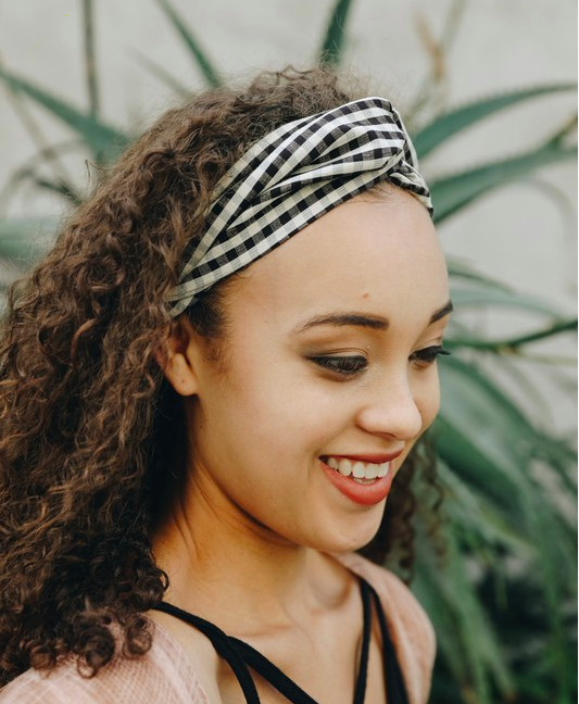 Black & White Checkered Twist Headband