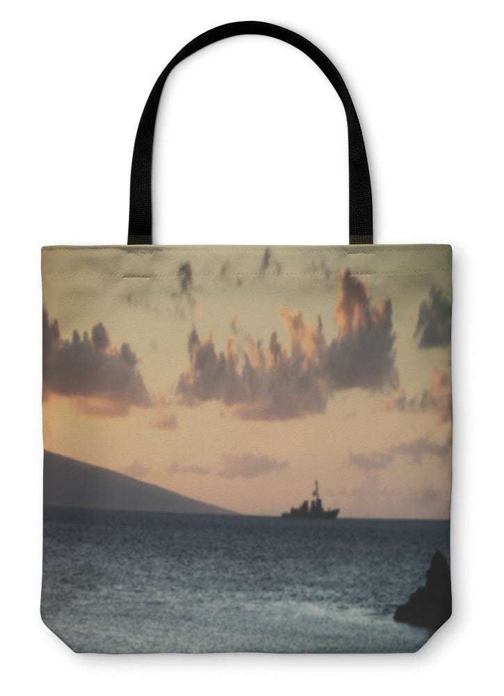 Tote Bag, Us Navy Ship At Sunset