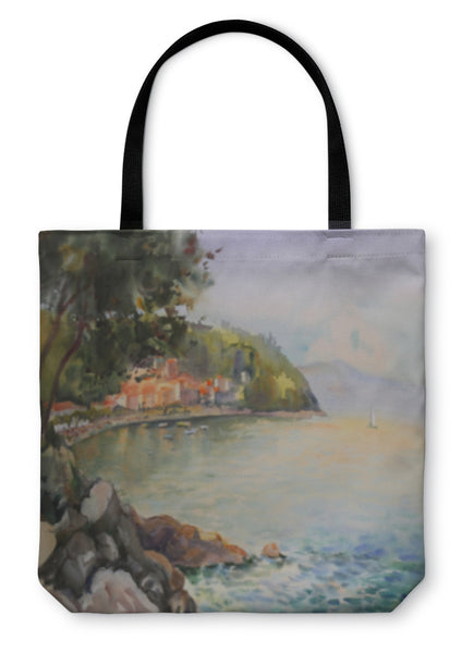 Tote Bag, Watercolor Painting Seascape In Croatia Near By City Of Rijeka