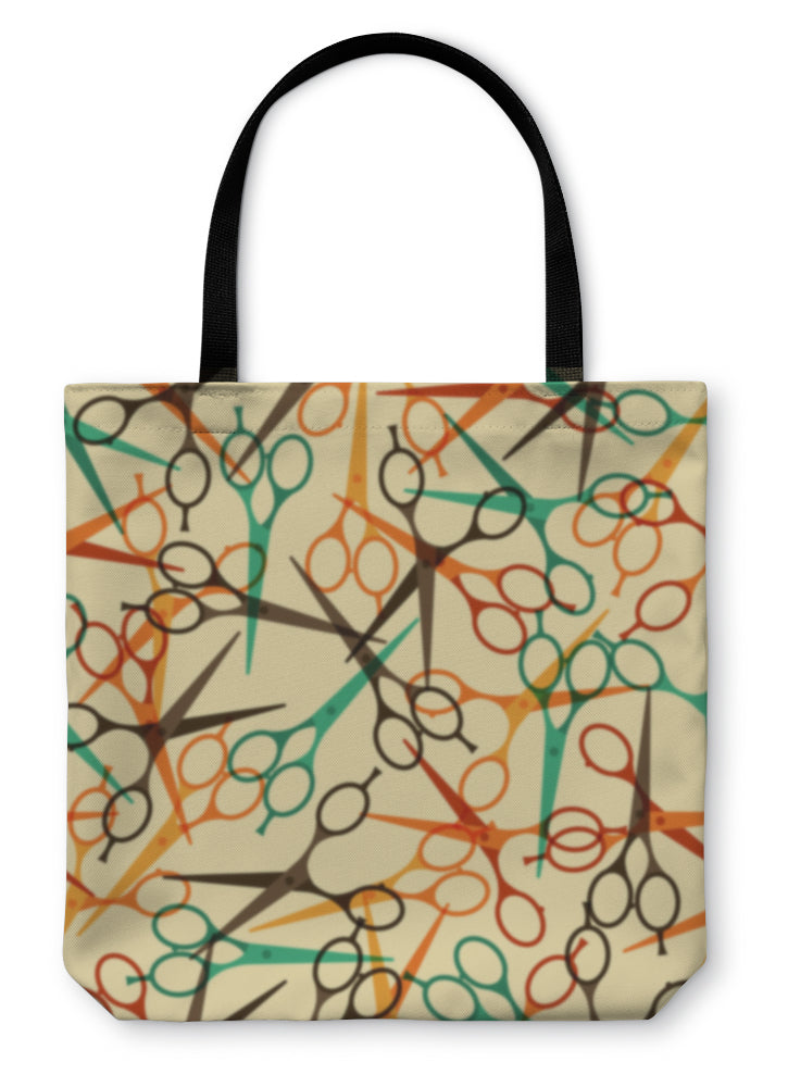 Tote Bag, Hairdressing Tools Pattern In Retro Style