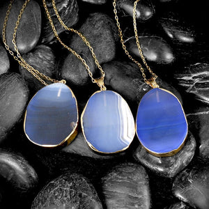 Blue Agate Natural Stone Necklace in 18K Gold Plated