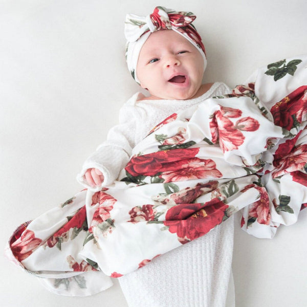 Newborn Infant Baby Blanket Floral Swaddle Turban