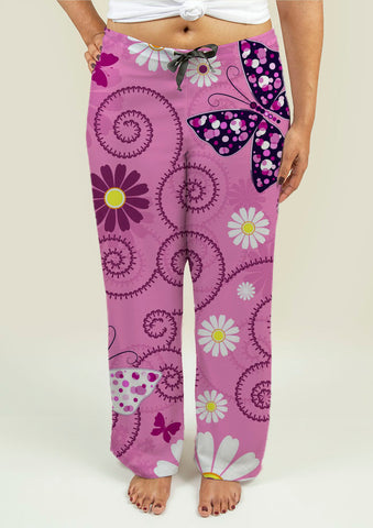 Ladies Pajama Pants with Pink Floral Pattern