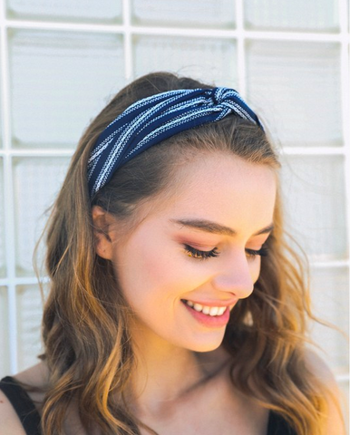 Navy Striped Twist Headband