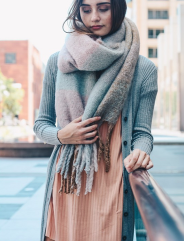 Light Blue Mixed Plaid Scarf